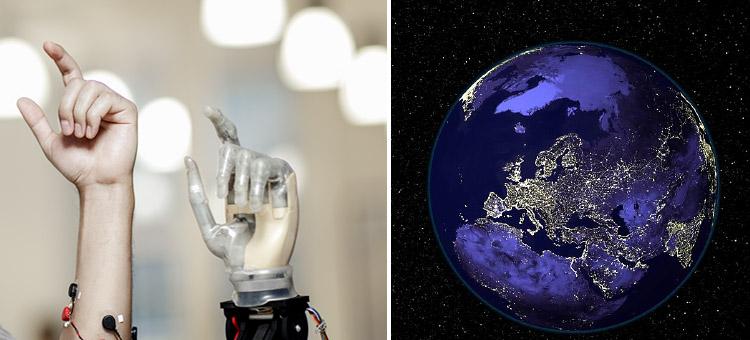 Bil på en robothand och planeten Jorden