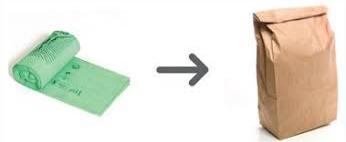 Bild på en papperspåse och en plastpåse