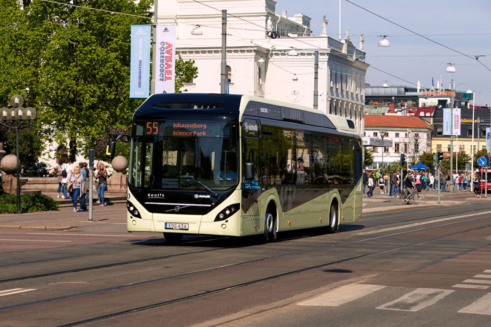 Bild på elbussen 55 i Göteborg